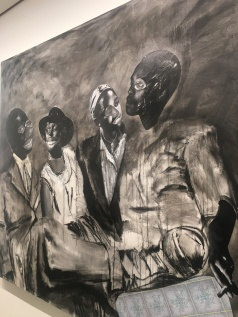 Ka morago a kgwedi - Collage, charcoal and ink on canvas (2017) (Detail)