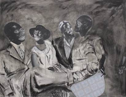 Ka morago a kgwedi - Collage, charcoal and ink on canvas (2017)